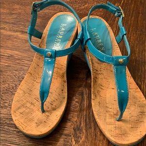 RALPH LAUREN wedge sandals in TEAL!
